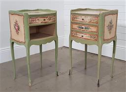 Sale 9255 - Lot 1131 - Pair of hand painted bedsides with single drawer and open section (h:73 x w:39 x d:32cm)