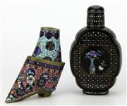 Sale 8096 - Lot 41 - Japanese Lacquer Ware Snuff Bottle with a Cloisonne Snuff Bottle