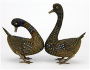 Sale 8139 - Lot 10 - Cloisonne & Silver Pair of Duck Figures