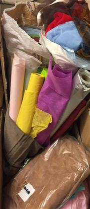 Sale 8310A - Lot 447 - A box of crepe paper, including wrapping paper, wrapping tulle and a quantity of suede