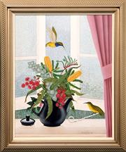 Sale 8604 - Lot 2016 - Anna Garland - Tropical Shower II : Sunbirds & Teapot  Oil On Canvas On Board ( 73 x 58.5cm ) Signed Lower Right