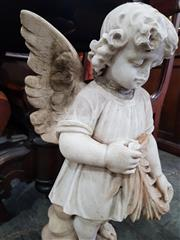 Sale 8774 - Lot 1077 - Late 19th Century Marble Angel, wearing a short sleeved robe & holding a palm leaf