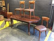 Sale 9006 - Lot 1030 - Timber Dining Table & 4 Spade Back Chairs (Table - h:76 x w:198 x d:118cm)