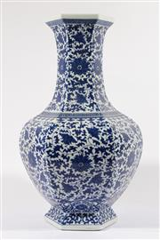 Sale 9015 - Lot 55 - A Large Blue and White 6 Sided Vase, mark to base (H 53cm)