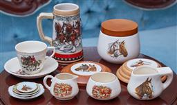 Sale 9103M - Lot 474 - A collection of horse themed ceramics including a Budweiser ltd ed. collector stein, H16.5cm, Sandland wares, etc