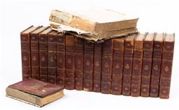 Sale 9130S - Lot 75 - A collection of Henry Fieldings miscellaneous writings leather bound books, edition deluxe ltd ed. 481/1000, all very damaged. together