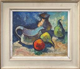 Sale 9123 - Lot 2004 - Edward Hall (1922 - 1991) Still Life, 1962 oil on board (AF) 52 x 59cm, signed and dated -