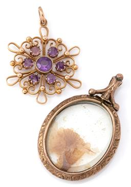 Sale 9140 - Lot 301 - ANTIQUE GOLD AMETHYST PENDANT AND PICTURE LOCKET; 10ct gold wire work target pendant set with round cut amethysts, size 27mm, wt. 2....