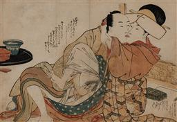 Sale 9161A - Lot 5074 - UTAGAWA SCHOOL - Lady-in-Waiting & Lover from Unidentified Series (early 1800s) 22 x 31 cm (frame: 43 x 58 x 3 cm)