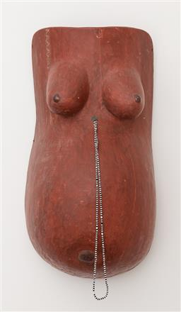 Sale 9160H - Lot 250 - A Makonde painted timber female body mask with beaded adornment and stiching to top, Height 54cm