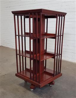 Sale 9179 - Lot 1035 - Late 19th/ Early 20th Century Revolving Bookcase, of three tiers, from the law office of JHH Hammond KC (1975-1932) (h:145 x w:62cm2)
