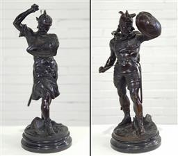 Sale 9196 - Lot 1064 - Pair of Early 20th Century French Spelter Figures of Barbarian Warriors, after Pierre-Louis Detrier, armed and in fighting stance, r...