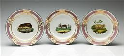 Sale 9192 - Lot 40 - A Set of Three Handpainted C19th Porcelain Cabinet Plates Depicting Rabbit, Sheep, and Otter Respectively (Dia:23cm)