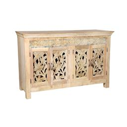 Sale 9216S - Lot 42 - A natural timber four door sideboard with carved panel doors, Height 98cm x Width 176cm x Depth 42cm