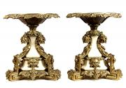 Sale 8279 - Lot 41 - Continental Bronze Gilded Pair of Marble Tazzas