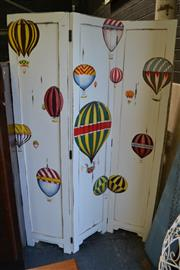 Sale 8115 - Lot 4106 - Timber 3 Panel Dressing Screen with Hotair Balloons
