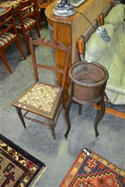 Sale 8117 - Lot 975 - Timber Planter and Chair
