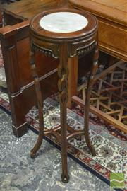 Sale 8255 - Lot 1024 - Pair of Chinese Rosewood Jardiniere Stands, with round marble panels, fien frieze & knotted legs with stretchers