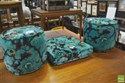 Sale 8392 - Lot 1073 - Pair of Upholstered Foot Stools & Cushion (3)