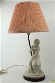 Sale 8586 - Lot 49 - Victorian Parian Figure of a Young Woman Mounted as a Table Lamp, seated on an outcrop & with one shoulder exposed, the lamp with pi...