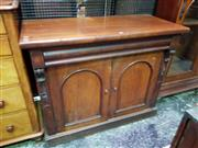 Sale 8653 - Lot 1054 - 19th Century Cedar Bookcase, the top with two arched glass panel doors (now used as display cabinet), the base with frieze drawer &...