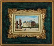 Sale 8804A - Lot 15 - A framed pottery panel painted with a French Palace in a fine gilt frame within a larger frame, panel signed AR, total size 28cm x 32cm
