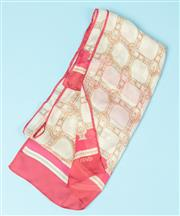 Sale 9027F - Lot 55 - A Fendi silk scarf with an interlaced buckle and strap design and a rose pink border. Length 150cm