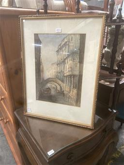Sale 9106 - Lot 2071 - Artist Unknown (Late C19th) Venetian Canal Scene, 1890watercolour 52 x 40cm (frame) initialled H.M and dated lower right