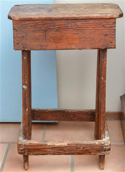 Sale 9120H - Lot 256 - A rustic timber stool, Height 67cm x Width 43cm x Depth 21cm