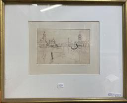 Sale 9135 - Lot 2096 - Artist Unknown Venice 1953drypoint etching 43 x 53cm (frame) signed -