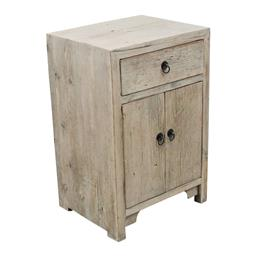 Sale 9245T - Lot 60 - A bleached timber two door and one drawer cabinet, with blackened metal hardware. Dimensions: H 76 x W 50 x D 40cm