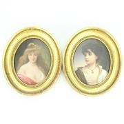 Sale 8264 - Lot 52 - German Porcelain Pair of Plaques of Young Lady & Boy