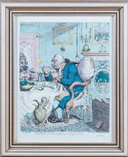 Sale 8308A - Lot 104 - An C18th hand coloured engraving, 'Temperance- enjoying a frugal meal', by J Gilray, published by H Humphrey on Bond St, numbered in.