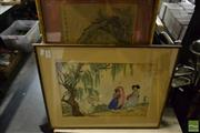 Sale 8495 - Lot 2049 - Group of 3 Assorted Chinese Artworks; The Maiden, Travellers Walking Home & a Decorative Print