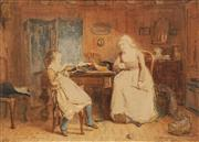 Sale 8665A - Lot 5076 - Jacob Taanman (1836 - 1923) - Mother & Daughter Conversation, 1882 30 x 41cm