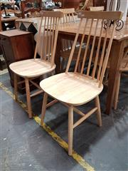 Sale 8777 - Lot 1087 - Set of Six Natural Timber Spindle Back Dining Chairs