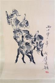 Sale 8877 - Lot 68 - Chinese Scroll Featuring Donkeys