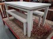 Sale 8912 - Lot 1074 - White Dining Table with 2 Benches