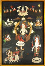 Sale 8976H - Lot 92 - A thangka/tanka with central throned figure surrounded by lamas and other blessed figures 64x42cm