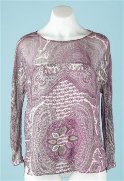 Sale 9027F - Lot 71 - A Massimo Dutti sheer long sleeve top with button neck in a purple paisley design. size 42