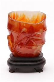 Sale 9070 - Lot 49 - A Chinese Coloured Glass Vase on Stand decorated with Bamboo (H 14cm)