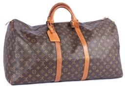 Sale 9149 - Lot 512 - A VINTAGE LOUIS VUITTON MONOGRAM BANDOULIERE KEEPALL 60; with rounded leather handles, a double zipper & a removable ID holder, Dime...