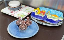 Sale 9165H - Lot 184 - An assortment of serving bolws and dishes to include a hand painted Nino Parruch sectioned serving dish, Largest width 34cm