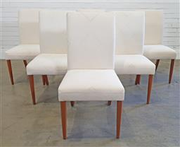 Sale 9174 - Lot 1339 - Set of six white upholstered Country Road dining chairs by Moran of Melbourne (h:99 w:50 d:60cm)