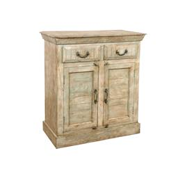 Sale 9216S - Lot 10 - A distressed timber two door and two drawer cabinet with metal hardware, Height 99cm x Width 93cm x Depth 42cm