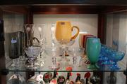 Sale 8327 - Lot 97 - Coloured Glass Drink Suite With Other Stem Ware incl Smokey
