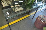 Sale 8331 - Lot 1316 - Metal Based Hall Table w Glass Top