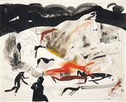 Sale 8466A - Lot 5048 - Anne Hall (1946 - ) (3 works) - In Hell, 1966; Portrait Studies 51 x 63.5cm; 101 x 70cm (2) (sheet size)