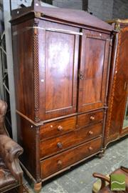 Sale 8500 - Lot 1068 - Early 19th Century Anglo-Indian Cedar Cabinet on Chest with Two Cross Banded Doors and 2 Half Drawers Flanked By Columns (losses and...