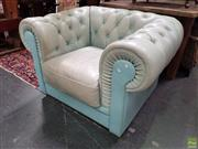 Sale 8576 - Lot 1069 - Light Blue Buttoned Leather Chesterfield Armchair